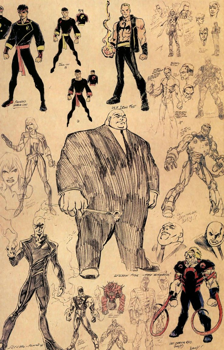 Marvel character sketches by Mark Bagley. I love Iron Fist without the mask and oversized collar!