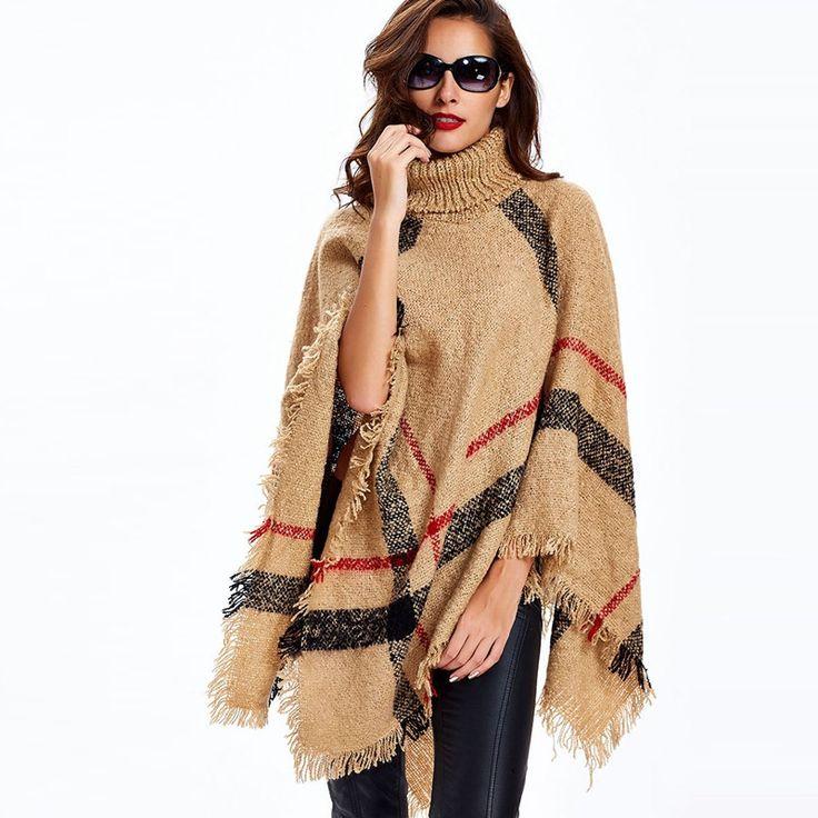 Clocolor Knitted shawl women casual autumn winter Female Stripe Black Beige Turtleneck Patchwork Knitwear warm Knitted shawl
