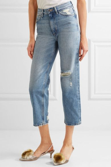 M.i.h Jeans - Jeanne High-rise Cropped Distressed Straight-leg Jeans - Blue