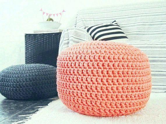 Coral Ottoman Nursery Footstool Pouf- Coral Nursery Decor-Coral Nursery Furniture-Crochet Floor Cushion-Kids Furniture Bean Bag Chair
