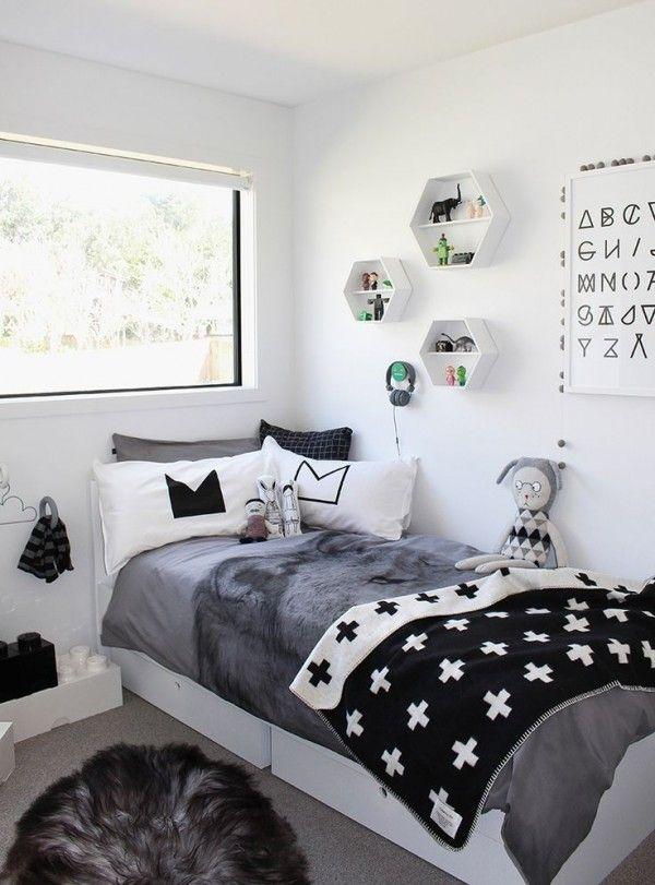 Chambre d'enfant cosy en noir et blanc http://www.homelisty.com/chambre-enfant-noir-blanc/
