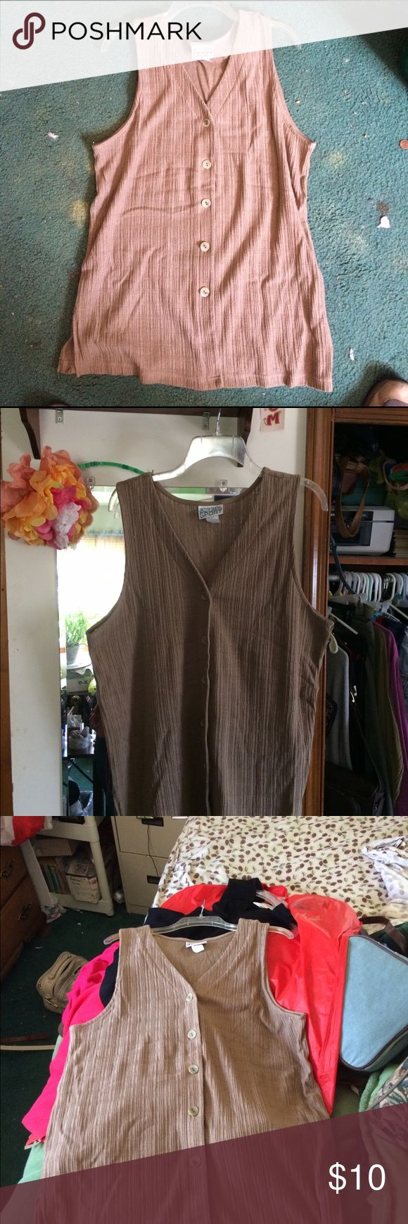 Jaclyn Smith Sz Lg Beige Vest/Shirt Jaclyn Smith Sz Lg Beige Vest and/or Shirt. Great Condition! 50/50 Cotton Polyester Blend. Jaclyn Smith Tops