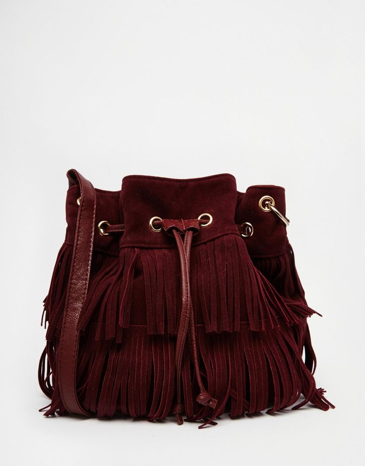 Image 1 of New Look Suede Fringe Duffle Bag