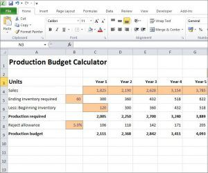This free Excel production budget calculator can be used to estimate required production levels based on forecast sales demand and ending inventory levels.
