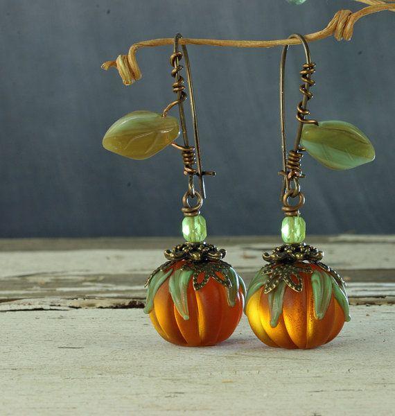Pumpkin Earrings Halloween Earrings Orange by ForTheCrossJewelry, $32.00
