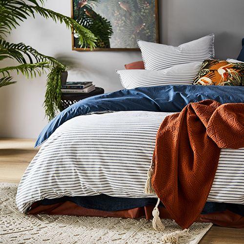 Stonewashed Printed Cotton China Blue Stripe Quilt Cover Blue Quilt Bedding Quilt Cover Blue Quilt Covers