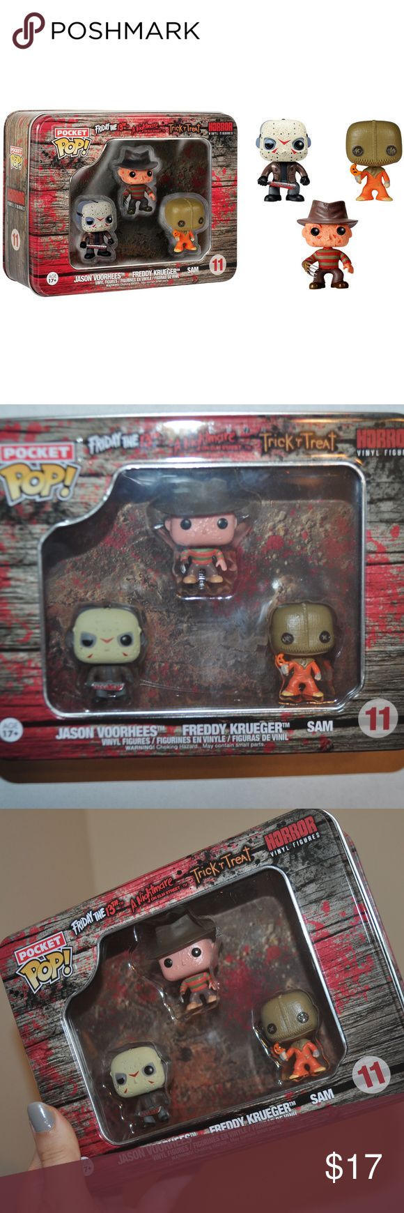 Collectable Pocket POP! Horror 3 Pack BRAND NEW! NEVER OPENED! NO FLAWS!  Pocket Pop! Horror 3 Pack Tin featuring - Jason Voorhees, Freddy Kruger, and Sam  tags: nwt halloween fan girl unisex unique mask disguise monster scary scare spooky spook creep creeper creepy neat rad goth terror little miniature mini small awesome amazing wicked gothic witch dark alternative packs sets set bundle bundles lot incredible three collect collection featured feature holidays presents present holidays…