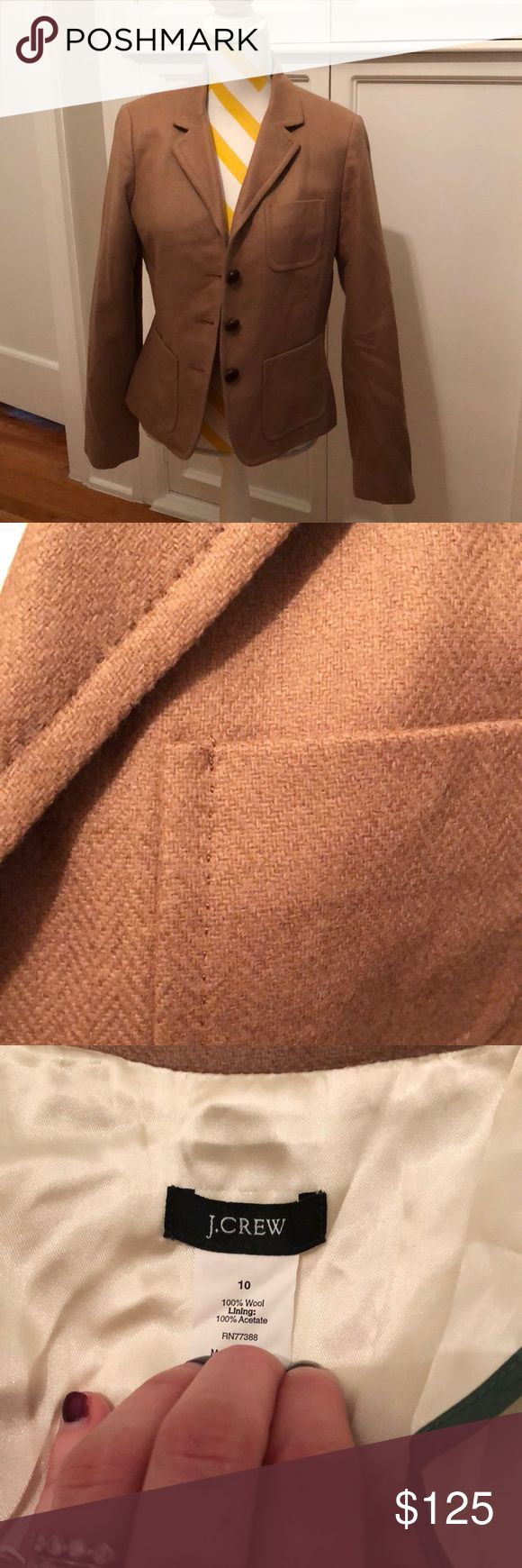 J. Crew tan herringbone Robert Noble wool blazer J. Crew tan herringbone Robert Noble wool blazer- excellent used condition, worn only once. Ladies size 10 but could fit and 8 especially with sweater. Perfect piece to layer! Add a plaid scarf and skinny jeans for that perfect timeless look, or a black skirt and white oxford for a work look.  Ask all questions before buying.  You don't want to miss a chance to add this beautiful piece to your wardrobe!! A little wrinkly from being in the…