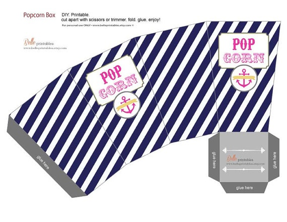 Popcorn Box  Nautical Theme   DIY Print Your by BellePrintables, $7.00