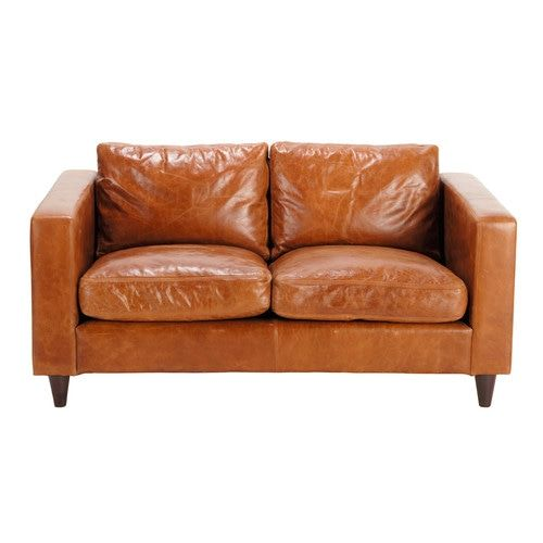 2 Seater Leather Vintage Sofa In Camel