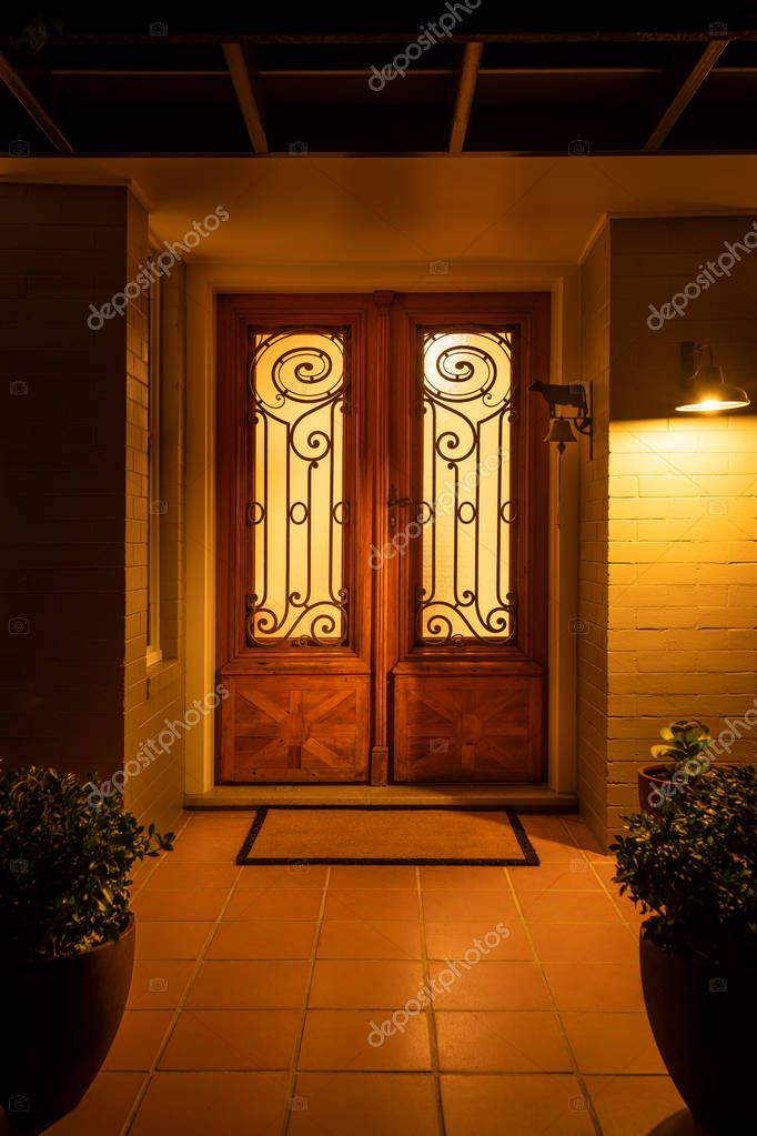 Front Door To Domestic Suburban Home Lit At Night From Inside And Down Lights Ou Sponsored Domestic Suburban Front Front Door Downlights Night Light