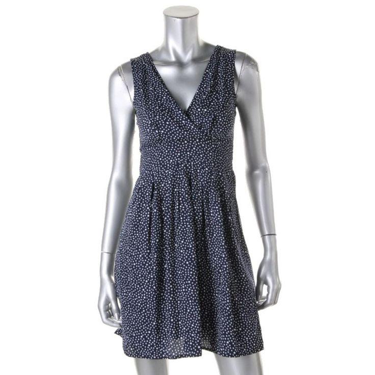 Maison Jules Womens Polka Dot Surplice Wear to Work Dress