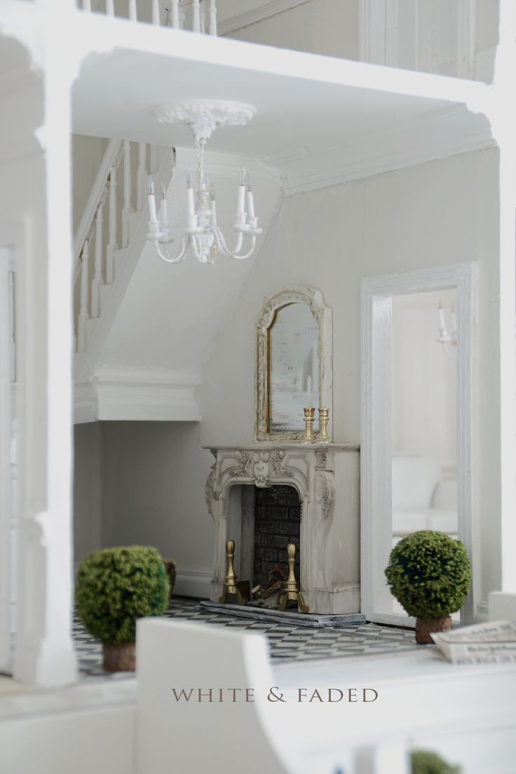 White & Faded dolls house entry hall