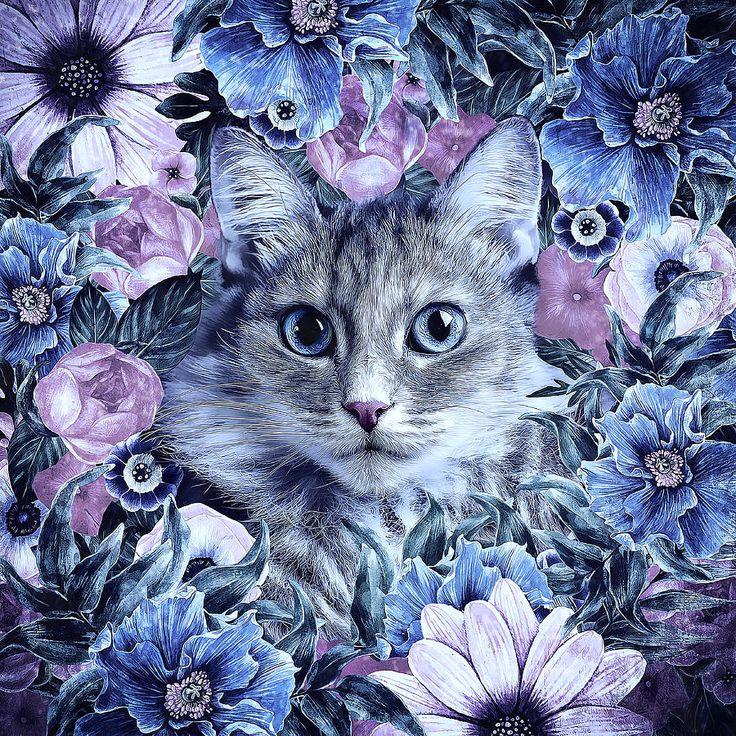 Cat In Flowers. Winter Digital Art by Oksana Ariskina  #OksanaAriskinaFineArtPhotography #FineArtPhotography #HomeDecor #FineArtPrint #Winter #PrintsForSale #Cat #Illustration #DigitalPaint