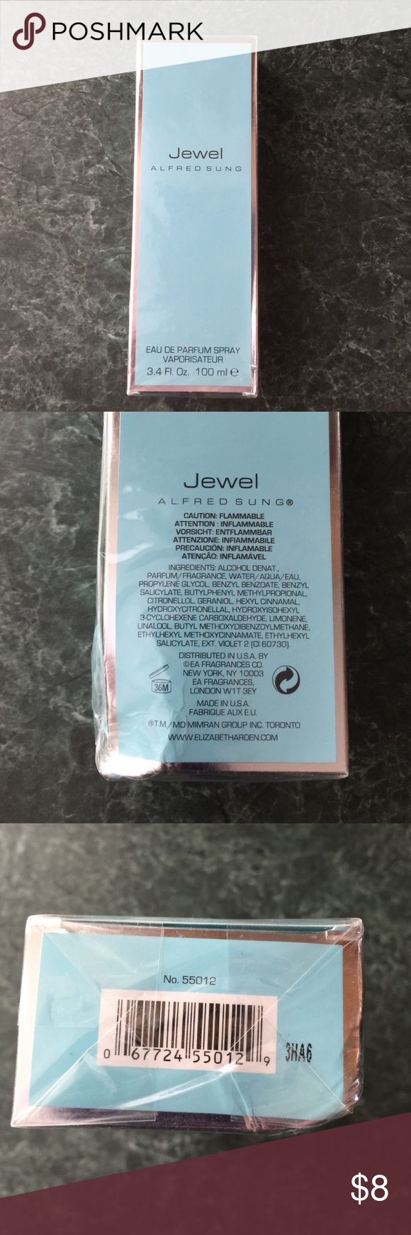 "New in Box ""Jewel"" by Alfred Sung Brand new ""Jewel"" by Alfred Sung perfume wrapped in box. Box has damage on the bottom corner - see pictures. Please reach out with any questions!! Alfred Sung Makeup"