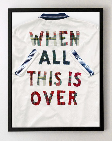 The tradition of football fans customising clothing to wear to matches is as old as the hills and the modern replica shirt has introduced a new blank canvas. We had become interested in the questions raised by the forthcoming selection of the Team GB Olympic football squad, as well as the proposed Scottish independence referendum, and we decided to focus these tensions on a football shirt. Limited edition Giclée print: sold out. 2012. #football #shirt #art