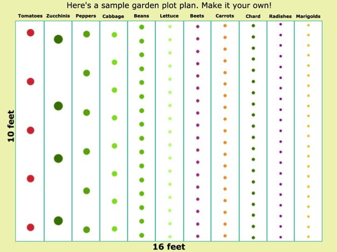 Sample vegetable garden plot plan. I may have to switch out a few plants for other things for my mamas garden.