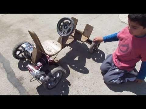 Auto a batería de madera para niño utilizando un taladro inalambrico de 12v - en acción - YouTube