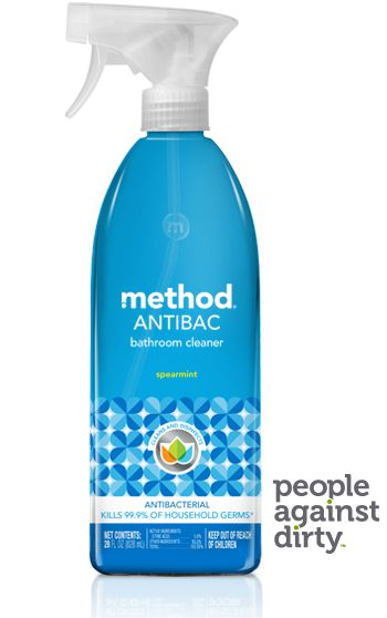 method antibacterial bathroom cleaner smells like heaven, cleans like heck, and kills 99.9% of household germs. targets soap scum + hard water stains.