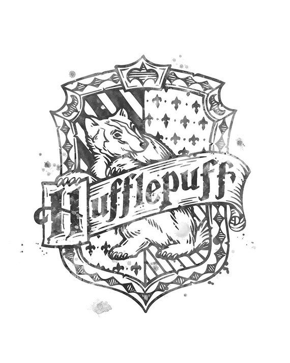 Hufflepuff Crest Harry Potter Print Watercolor Hufflepuff Crest