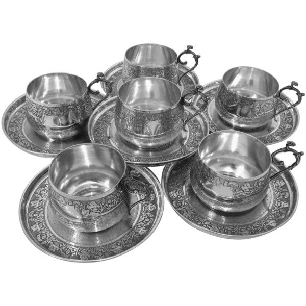 Preowned Compere Ornate French Sterling Silver Six Coffee Tea Cups... ($3,000) ❤ liked on Polyvore featuring home, kitchen & dining, drinkware, multiple, tea saucer, outdoor drinkware, tea-cup and tea cups