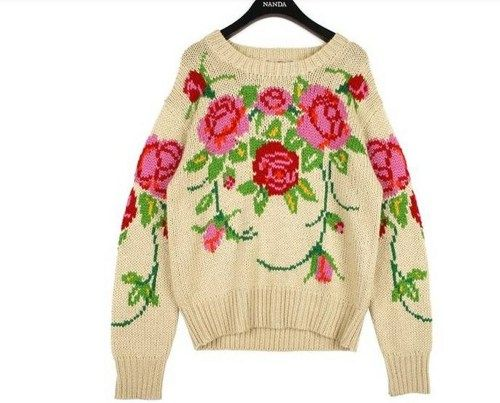 Fashion Flower print sweater top | lisafashiondress - Clothing on ArtFire