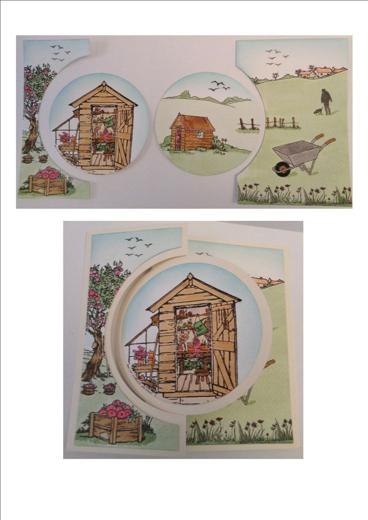 Allotment kinetic circle card made using Hobby Art stamps.