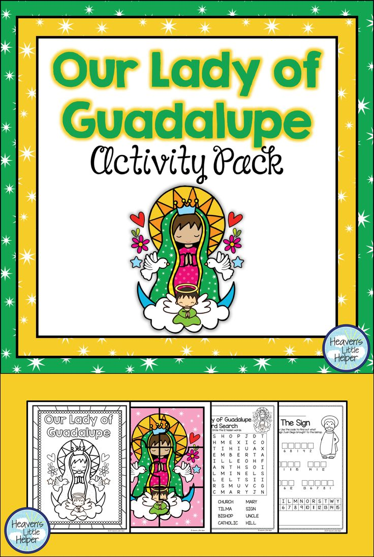 Printable Catholic activities for Catholic children on Our Lady of Guadalupe and Saint Juan Diego. This resource includes a coloring page, craft and story. #Catholic