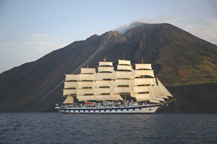 (Oh, to be on the...) Royal Clipper at Mt Stromboli, Sicily