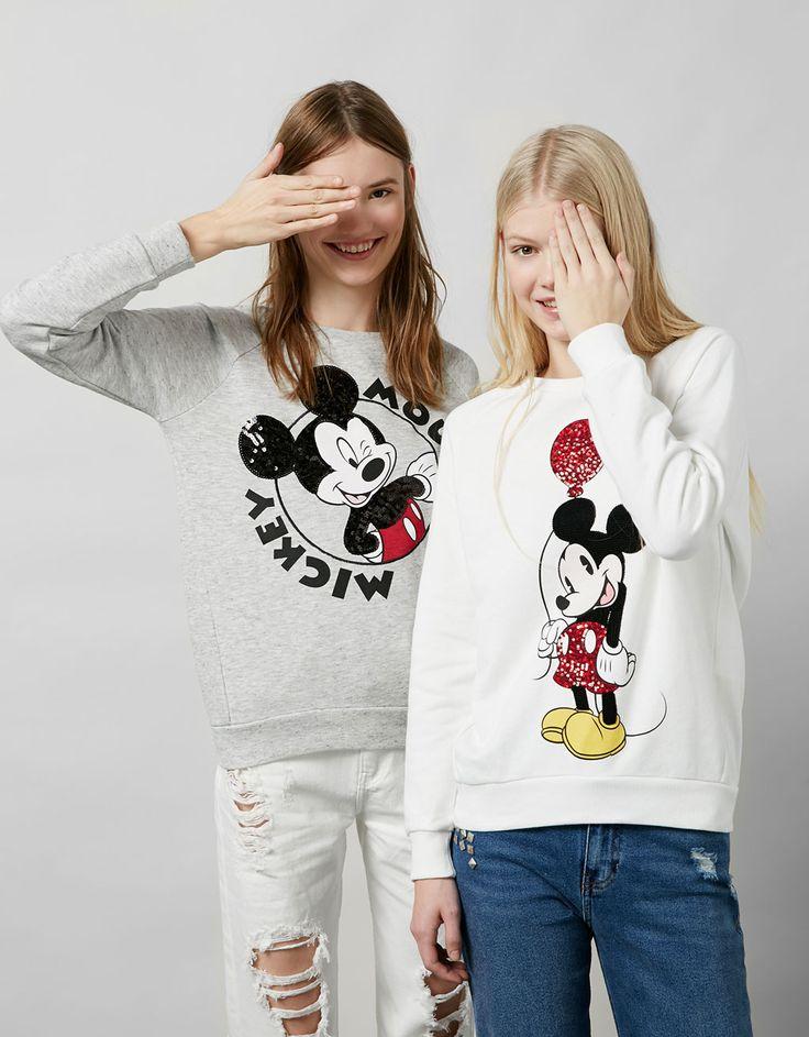 BSK Mickey embroidered sequinned sweatshirt - Sweatshirts - Bershka United Kingdom
