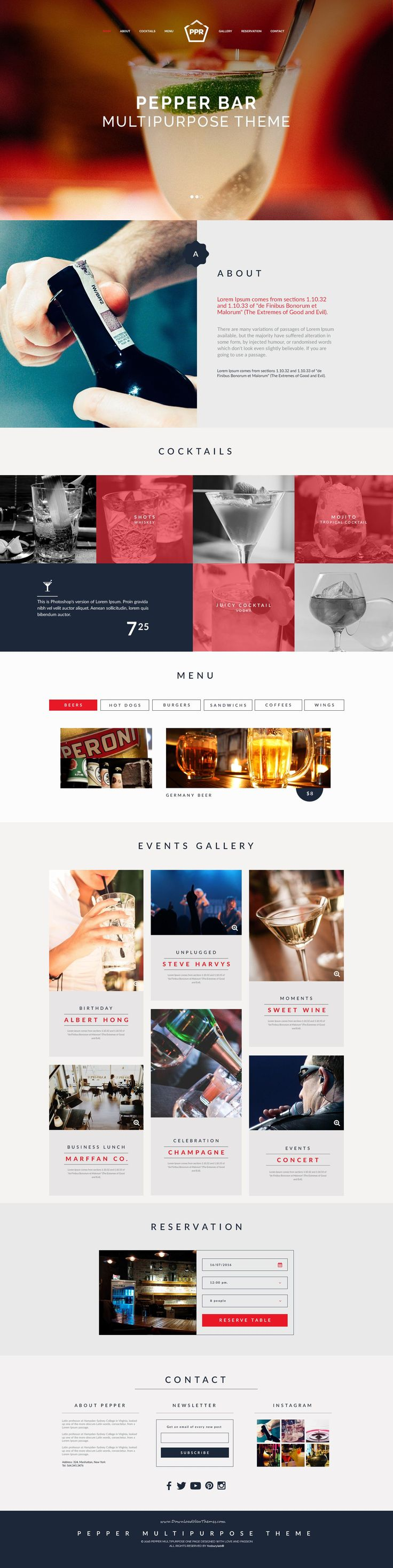 Multipurpose Pepper is an elegant and unique PSD Template design for restaurants, bars and cafes website. #pubs #bars #beer #wine #shop
