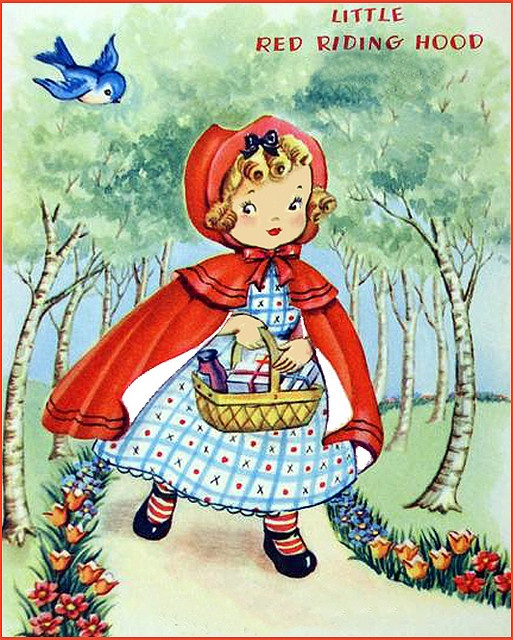 Red Riding Hood-Vintage Greeting Card