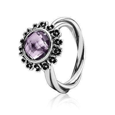 PANDORA | Anel de prata, ametista roxa