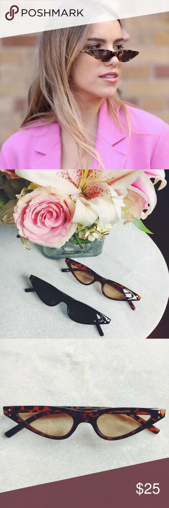 """🆕Tortoise Brown & Black Tiny Cat Eye Sunnies New Boutique Item. Trend Alert❣ Tiny Cat Eye  Sunnies! Also comes in Black & Tortoise. Color: Brown & Black Lease Color: (See through) brown Lens Material: Polycarbonate Frame Material: Plastic Lens Optical Attributes: UV400 Lens Width: approximately 2"""" Frame Height: a little over 1"""" Frame Length: approximately 6"""" Accessories Sunglasses"""