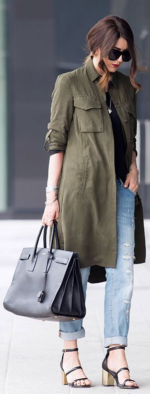 Military Fashion Trend 2015: Nicoletta Reggio is wearing an army green military style coat