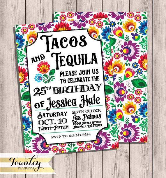 Birthday Party Invtiation, Tacos & Tequila, Fiesta Birthday, Birthday Invite, Customized, Party, Mexican Birthday, Invitation, 5x7,Printable