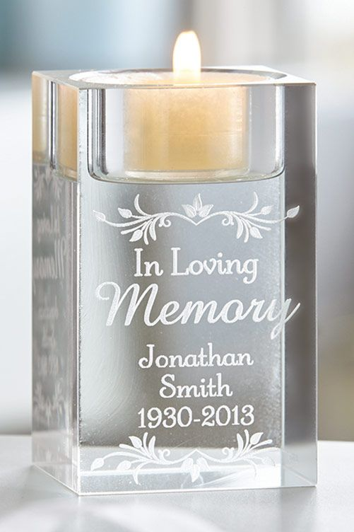 Made from glass, comes in presentation box. H11 x W8.1 x D6.2cm. Tea light not included. Personalise with message over 3 lines, up to 15 characters per line. The words 'In Loving Memory' are fixed.