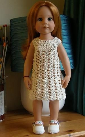 """American Girl 18"""" Doll crochet dress. Free pattern. Once you make the yoke, you could use many different stitches for the dress portion! by mspoid"""