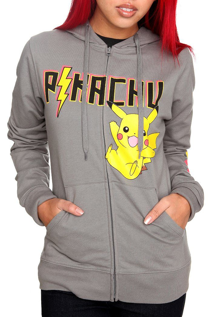 Pokemon Clothing for Girls | Pokemon Pikachu Grey Girls Hoodie | Clothing Style
