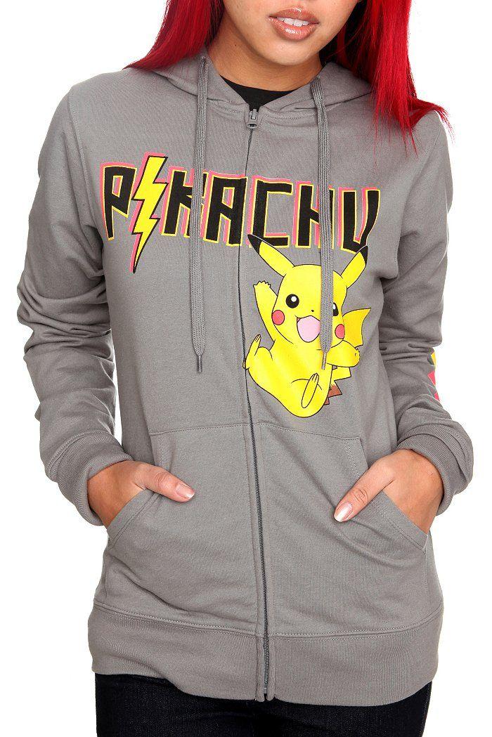 Pokemon Clothing for Girls   Pokemon Pikachu Grey Girls Hoodie   Clothing Style