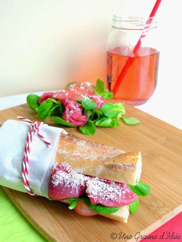 Sandwich Carpaccio de Boeuf, Mâche et Tomate | Une Graine d'Idée
