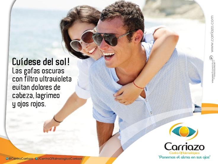 Las gafas oscuras con filtro ultravioleta evitan dolores de cabeza, lagrimeo y ojos rojos #SaludVisual #DiaDePlaya Centro Oftalmológico Carriazo www.carriazo.com