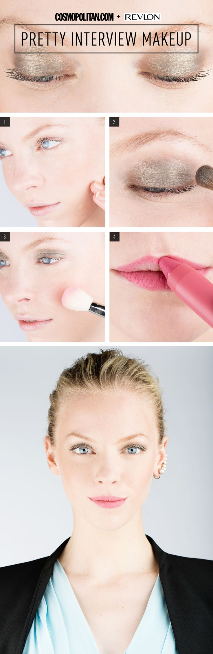 INTERVIEW MAKEUP TUTORIAL: There's no doubt you'll land the job with this natural and pretty makeup. Here, Makeup artist Gigi Shaker shows you exactly how to create the perfect interview look that's pretty yet professional. All you need to create this DIY look for work and interviews is foundation, bronze eyeshadow light pink blush, and a pink lip color. Click through for the full tutorial.