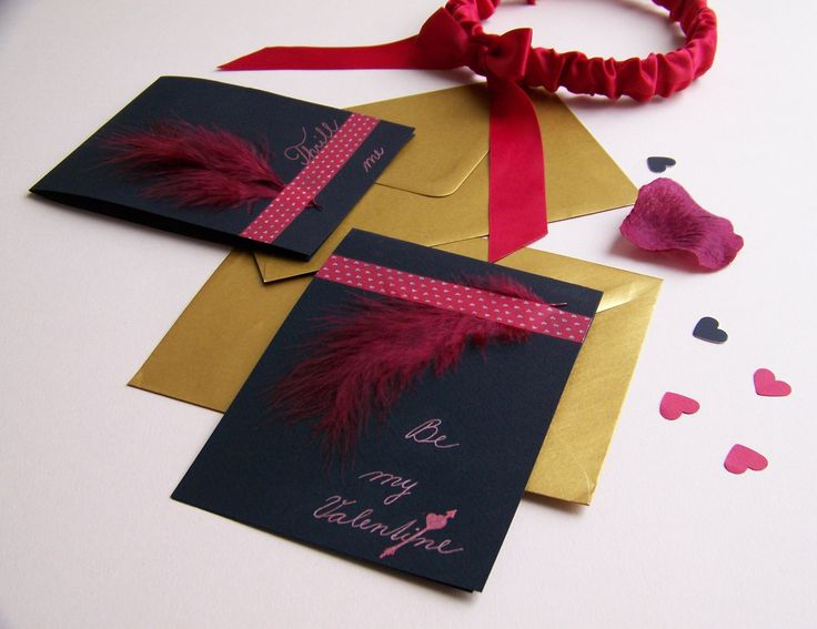 #Valentine #cards with #feather for #pleasure - handmade by Lady Lu.