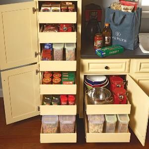 Kitchen Storage: Cabinet Rollouts Tutorial. For a more advanced DIYer, but would be totally custom. Could also find uses in bathrooms, garages, and kid's rooms!