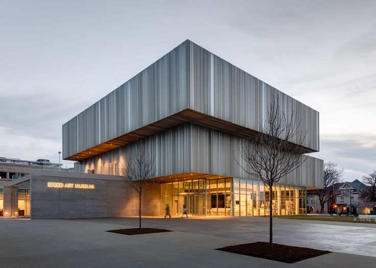 Speed Art Museum expansion in  Louisville, Kentucky, USA by WHY: featuring facades of fritted glass and corrugated metal panels.
