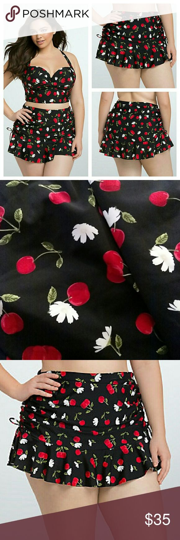 Cherry Ruched High Waist Skirt swimsuit bottom **Bottoms only** They do have a bikini under the skirt  This stretchy-sheeny black swim bottom flaunts a retro cherry and floral print. With side cinch ties than you can adjust (depending on how much you wanna show) the high waist style also has ruching that smooths over any problem areas. Both the brief and skirt are lined in power mesh to contour your figure.  ?  Tummy control Nylon/spandex Hand wash cold, line dry Imported  plus size swim…