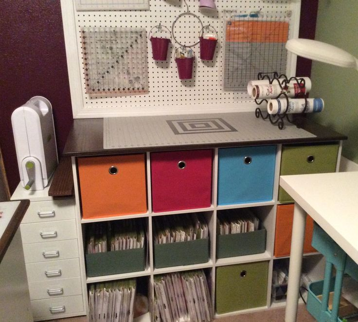 two 3 by 4 cube storage units put together with mending brackets to make deeper storage