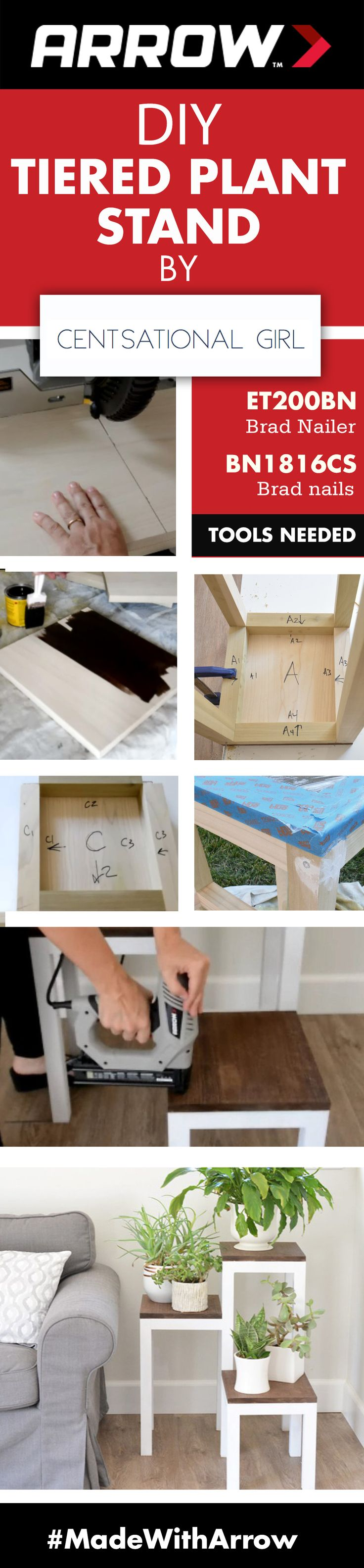 DIY Tiered Plant Stand by Centsational Girl || Decorate the boring corners of your home by creating tiered tables for greenery using Arrow's ET200BN Professional Electric Brad Nailer, poplar boards and a few other supplies and tools. Follow Arrow Fastener on Pinterest for more great projects! www.arrowfastener.com