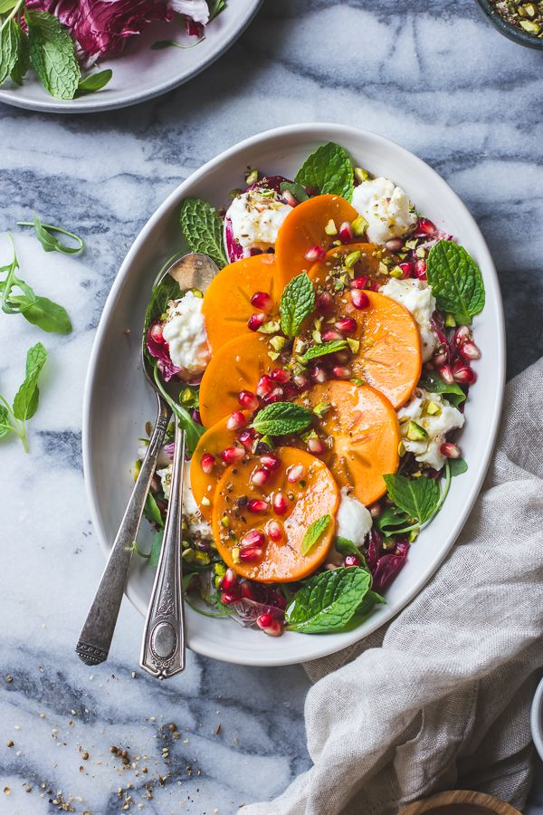 Persimmon + Pomegranate Salad with Burrata + Pistachio Dukkah
